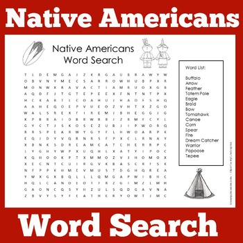 Native Americans  | Native American Word Search Activity
