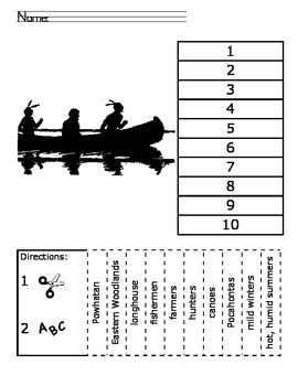 Native Americans ABC Order Cut and Paste