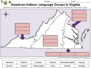 Native Americans: American Indian Language Groups in Virginia Cut and Paste