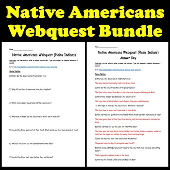 Native Americans Bundle- 8 Lessons (Customs, Clothing, Housing, Agriculture)