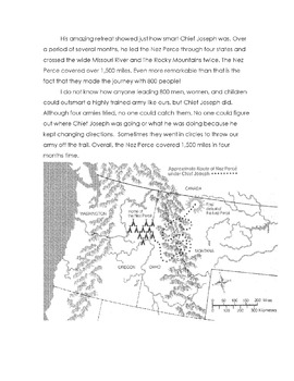 History: Native American CHIEF JOSEPH + NEZ PERCE w/17 Reading Comprehension Qs