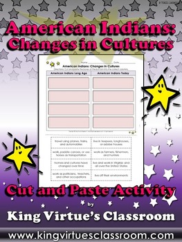 Native Americans: Changes in Cultures Cut and Paste Activity - American Indians