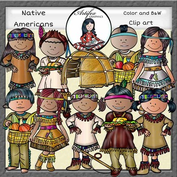 Native Americans Clip Art- Color and B&W