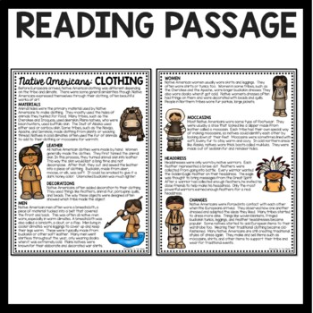 Native Americans Clothing Reading Comprehension Worksheet