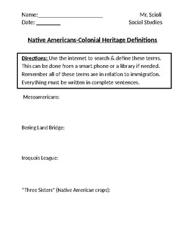 Native Americans-Colonial Heritage Homework Definitions