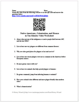 Native Americans, Colonization, and Disease in Ten Minutes Video Worksheet
