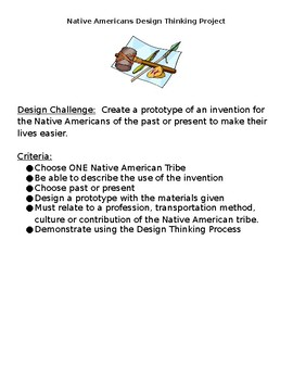 Native Americans Design Thinking Project STEM Computer Science EDITABLE