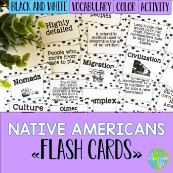 Native Americans Flash Cards - Black and White Papers