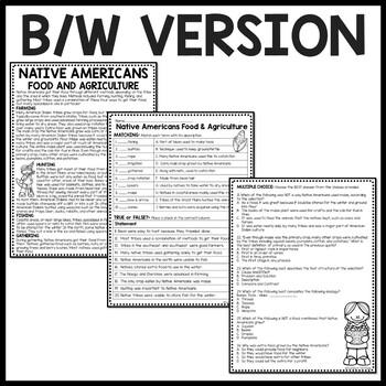 Native Americans Food Reading Comprehension Worksheet; Hunting, Gathering
