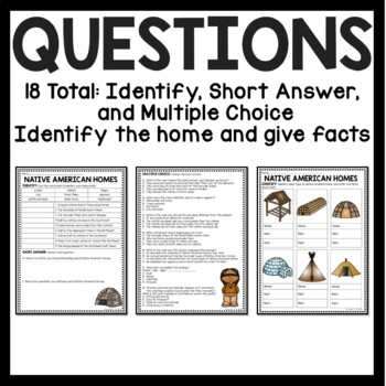 Native Americans Homes Reading Comprehension Worksheet