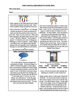 Native Americans-Literacy Activity Menu