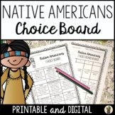 Native Americans Menu Choice Board for Enrichment and Earl