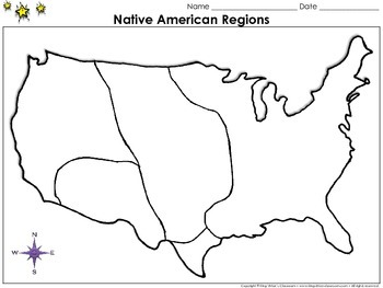 Native Americans: Regions Map - Blank - Full Page - King V