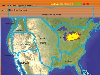 """Native Americans """"SWAT-the-MAP"""" game! 40 Qs on figures, tribes, dwellings & more"""