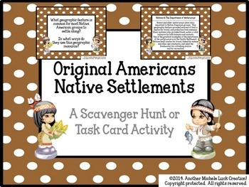 Native Americans Settlement in North America Task Cards or