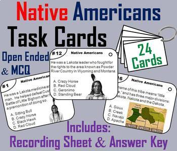 Native Americans Task Cards and Activities Bundle