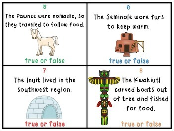 Native Americans True or False Task Cards