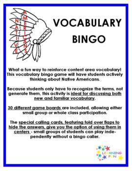 Native Americans Vocabulary Bingo