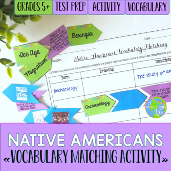 Native Americans Vocabulary Matching Activity