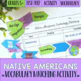 Native Americans Vocabulary Matching Activity