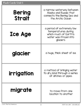 Native Americans Vocabulary Posters, Flash Cards, Word Wall Cards