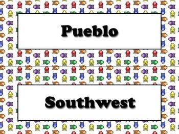 Native Americans Vocabulary Strips - Powhatan Lakota Pueblo - Owls BUNDLE