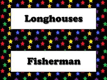 Powhatan Vocabulary Strips - Native Americans - Superstars Theme