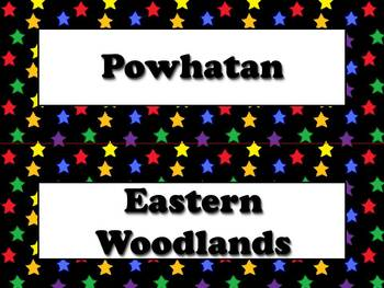 Powhatan Vocabulary Strips - Native Americans - Superstars Theme