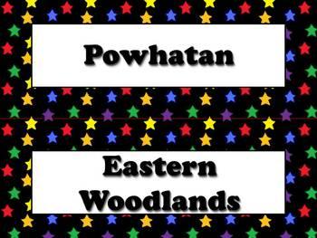 Native Americans Vocabulary Strips - Powhatan Lakota Pueblo - Superstars BUNDLE