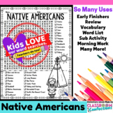 Native Americans Activity: Native Americans Word Search/Vocabulary