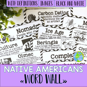 Native Americans Word Wall - Black and White Papers