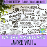 Native Americans Word Wall - Black and White
