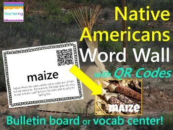 Native Americans Word Wall {with QR Codes}