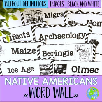 Native Americans Word Wall without definitions - Black and White