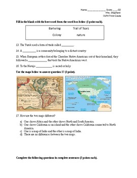 Native Americans and Early Settlers Test