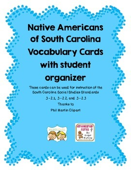 Native Americans and Explorers of SC Vocabulary Cards