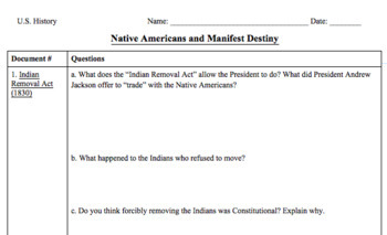 Native Americans and Manifest Destiny (Readings + Graphic Organizer)