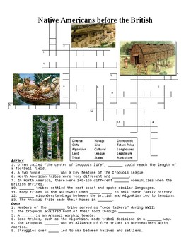 Native Americans before British Arrival Crossword or Web Quest