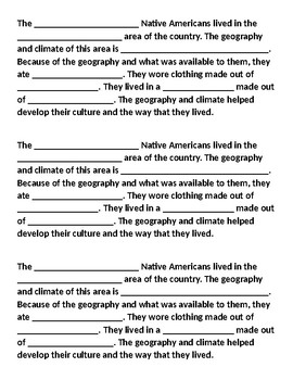 Native Americans- how geography and climate affect culture (Iroquois Hopi Sioux)