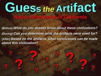 """Native Americans of California """"Guess the artifact"""" game: PPT w pictures & clues"""