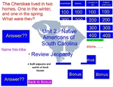 Native Americans of South Carolina Review Jeopardy