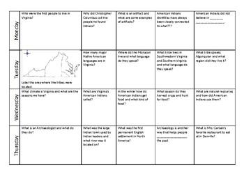 Native Americans of Virginia Homework/Activity