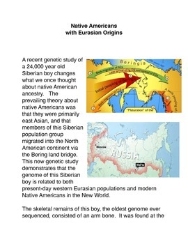 Native Americans with Eurasian Origins
