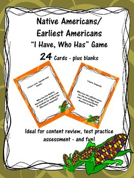 "Native Americans/Earliest Americans ""I Have, Who Has?"" Card Game"