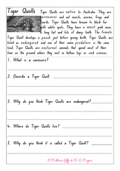Native Australian Animal Comprehension Sheets