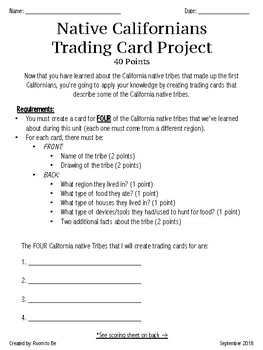 Native Californians Trading Card Project