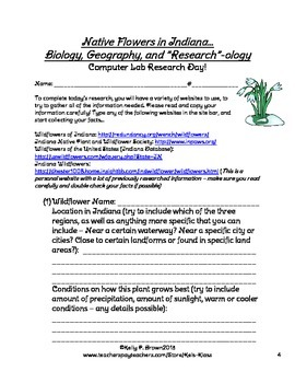 Native Indiana Wildflowers - Biology, Geography, and Research Project