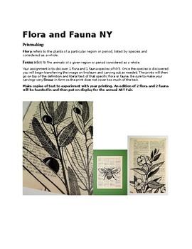 Native NYS Flora and Fauna linocut