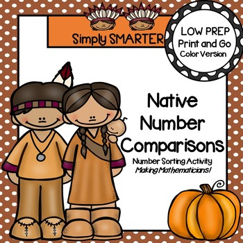 Native Numbers Comparison:  LOW PREP American Indian Number Sorting Activity