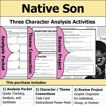 Native Son - Character Analysis Packet, Theme Connections, & Project